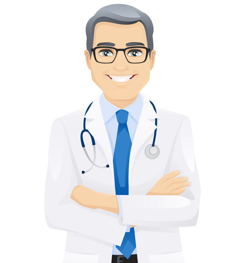 Male doctor standing with arms crossed isolated vector illustartion